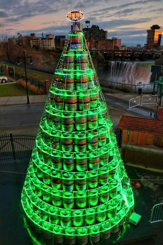 An epic Beer Keg Christmas 🎄 Tree by Genesee Brewery in Rochester, NY. - An Epic Beer Keg Christmas П�� Tree By Genesee Brewery In Rochester