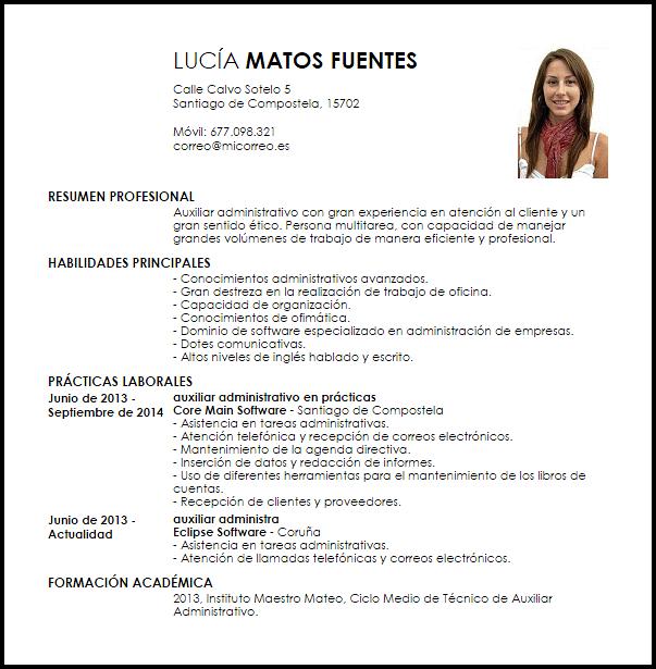 Modelo Curriculum Vitae Auxiliar Administrativo Principiante Modelos De Curriculum Vitae Curriculum Vitae Ejemplos De Curriculum Vitae