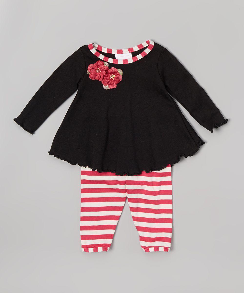 MADE IN USA Black & Berry Stripe Swing Ruffle Tunic & Leggings - Infant