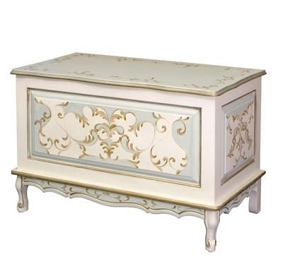 AFK's French Toy Chest, shown in Verona Motif.  (Reef/Linen/Gold)  Our graceful French Toy Chest can be personalized with beautiful applique mouldings and finished in any of our AFK Finishes or Motifs.  Contact our AFK Beverly Hills Store for information at (310) 657-6300.