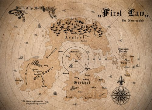 the first law world map The World Of The First Law Trilogy By Joe Abercrombie Map