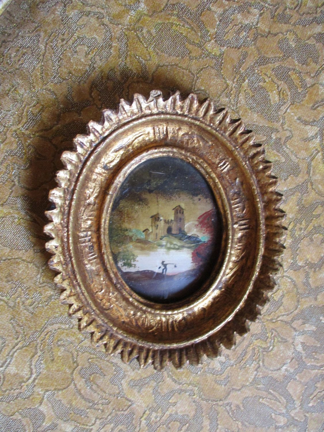 Hold for kacey vtg ornate small gold gesso style victorian framed hold for kacey vtg ornate small gold gesso style victorian framed florentine look castle by water painting convex bubble glass picture frame jeuxipadfo Image collections