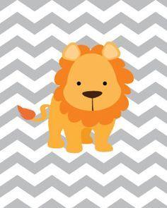 Baby Boy Nursery Art Chevron Lion Print 8x10 Safari Decor Playroom Rules Quote