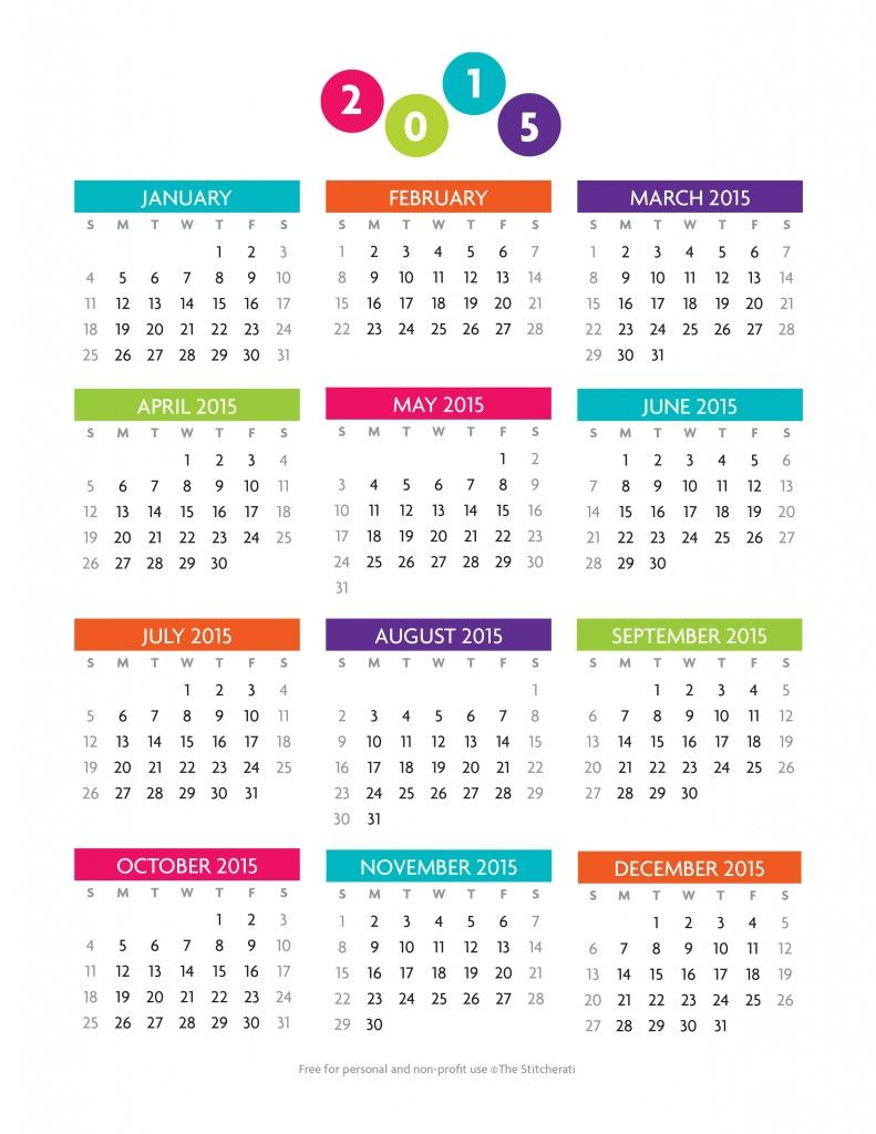 Free printable year at a glance 2015 Calendar | Printables ...