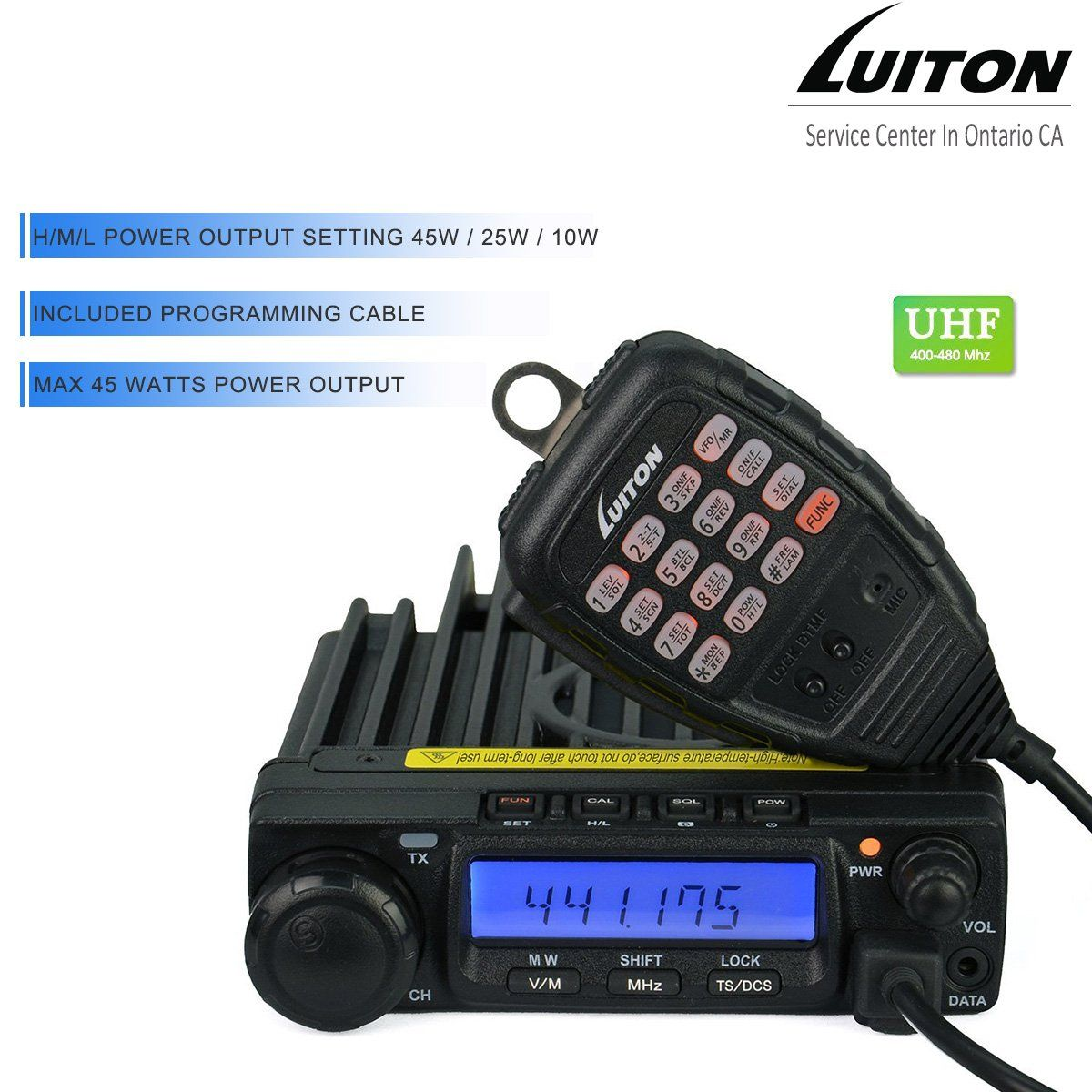 LUITON LT-590 UHF 45W/25W/10W Two-Way Radio Mobile Transceiver Amateur Ham  Radio with Free Programming Cable(Black)
