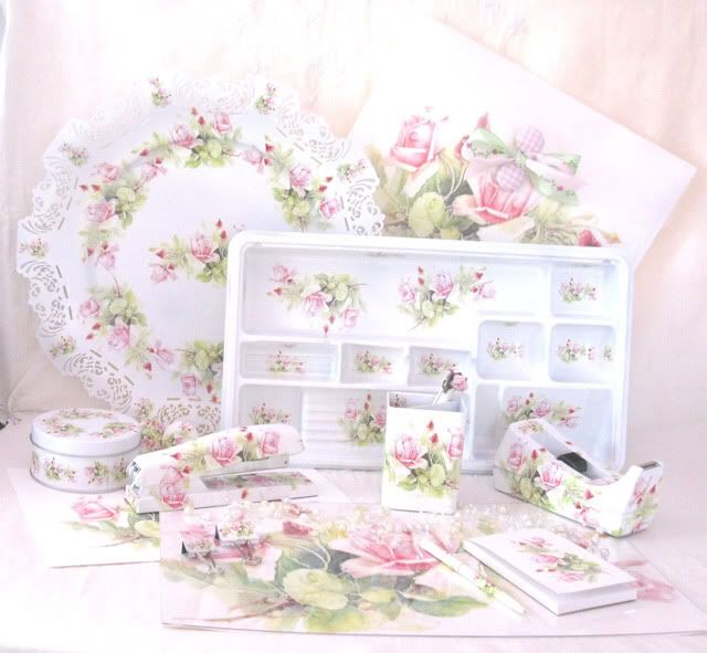 Shabby Desk Set Office Supplies White With Pink Flowers