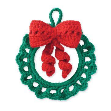 Cedar Lodge Crochet Wreath Ornament Freepattern Christmaspattern