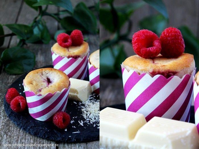Saftige Himbeer-Weiße Schokolade-Muffins • Schokokuss und Zuckerperle