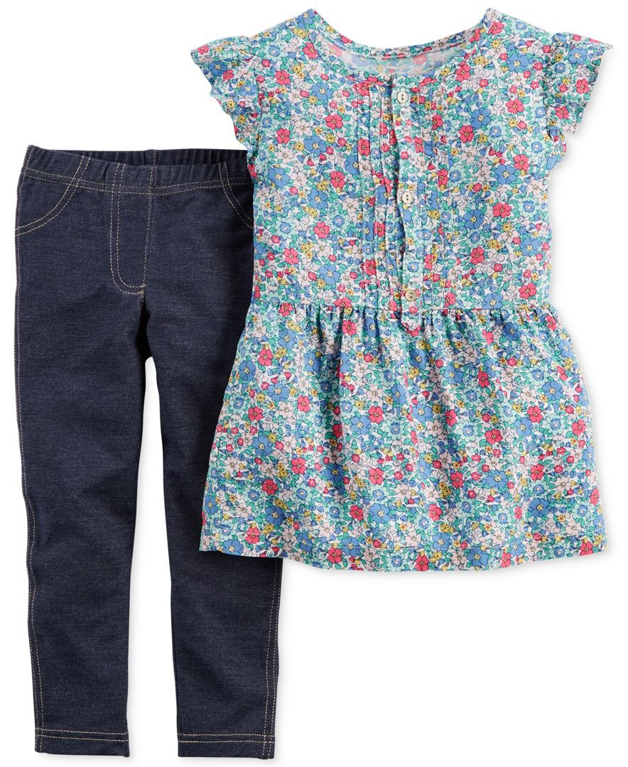 d10a5f6f Carter's Toddler Girls' 2-Piece Floral Top & Leggings Set | Bodysuit ...