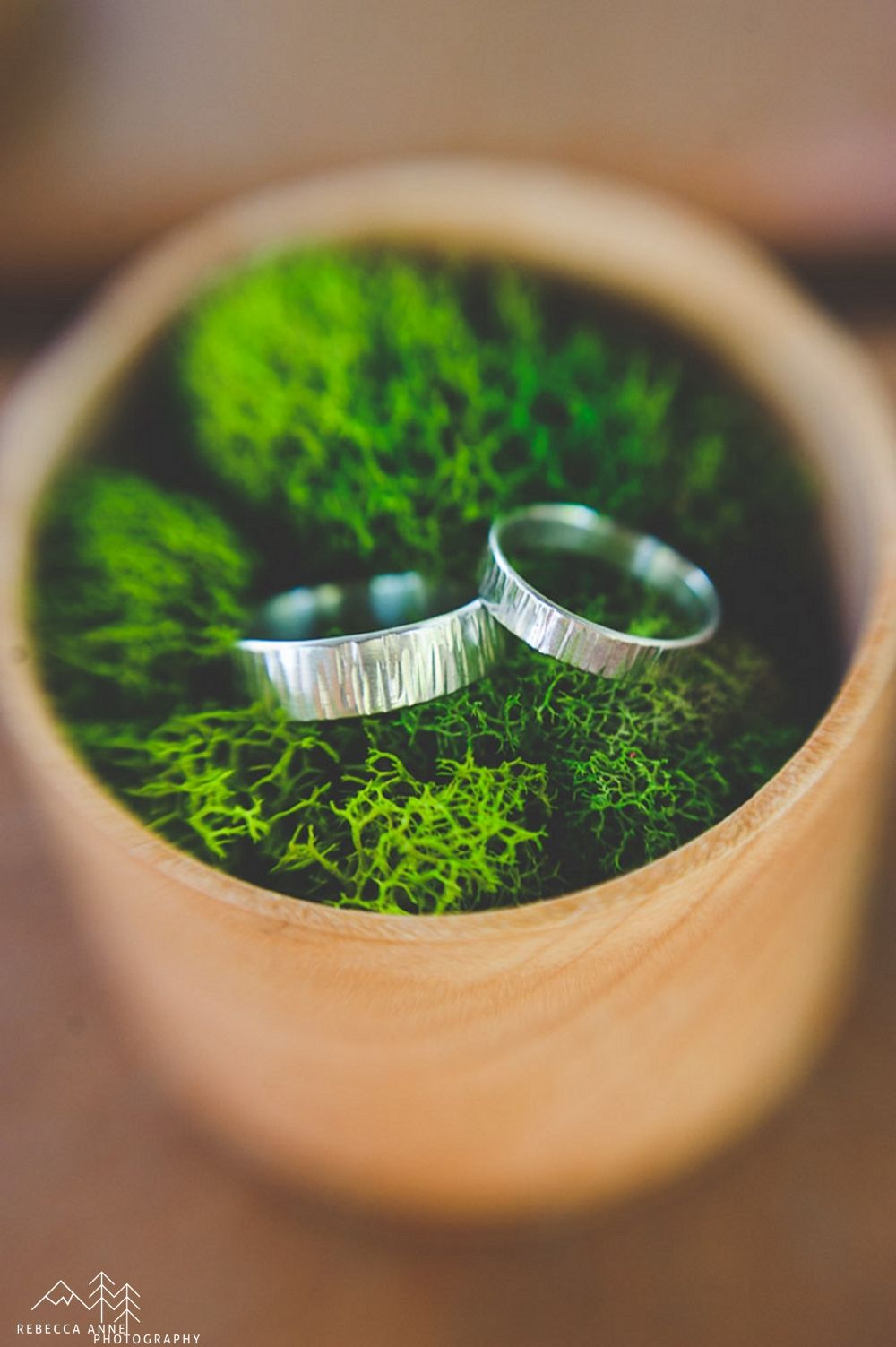 Glamping Styled Wedding Shoot // Friday Harbor by local Tacoma Wedding Photographer Rebecca Anne Photography.  Rings by Rito Originals. #weddingrings #rings #woodgrain #woodgrainrings