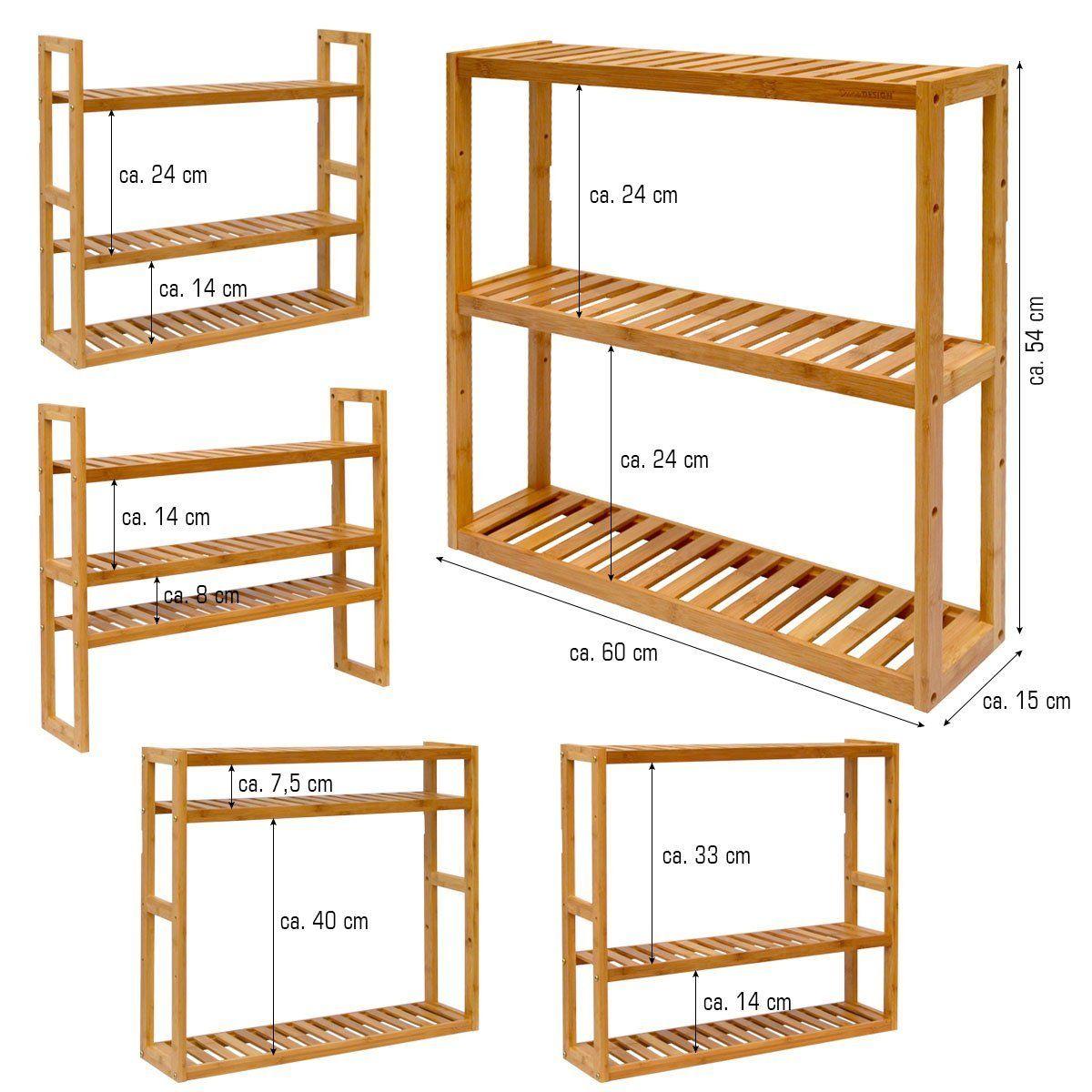 Dunedesign Wandregal 54x60x15cm Bambus Bad Regal 3 Facher Holz Ablage Badezimmer Hangeregal Aufbewahrung Ku Badezimmer Regal Holz Bambus Regal Badezimmer Regal