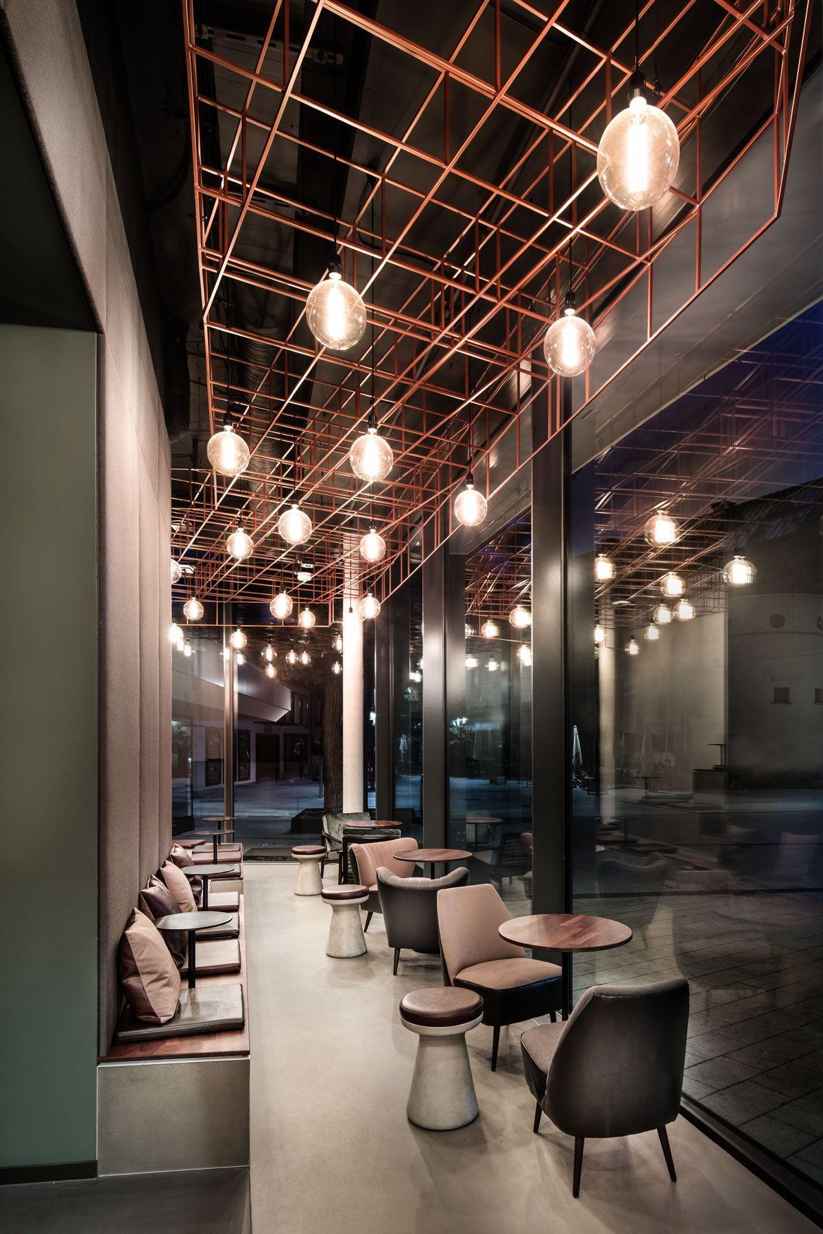 bar, lifestyle, interior design, industrial floor, cooper, rustic, seating area, light bulb
