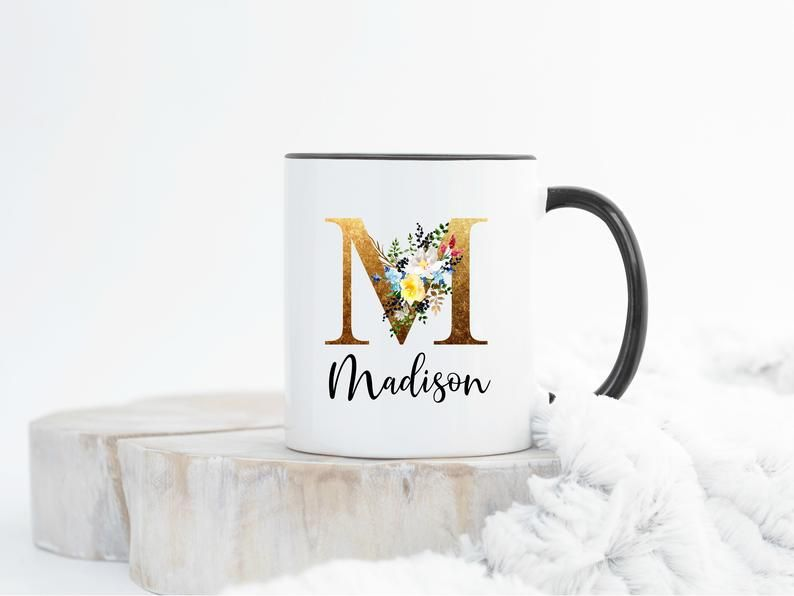 Personalized Coffee Mug Personalized Name Coffee Cup Initial Mug Gold Brown