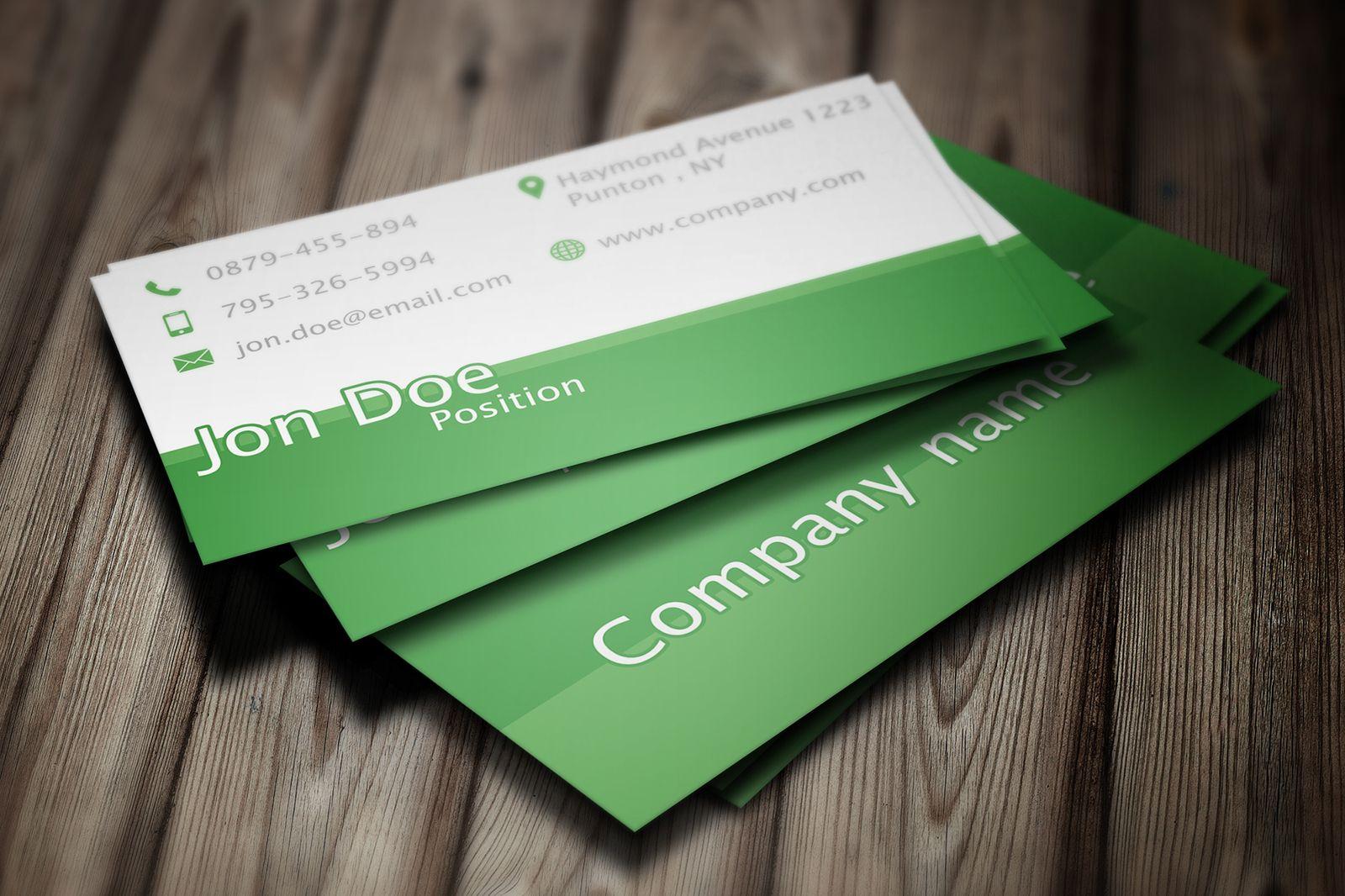 Elegant green business card psd template business card