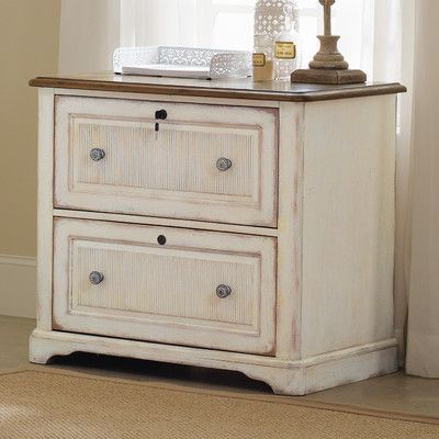 Two Drawer White Wood Lateral File Cabinet Distressed Office