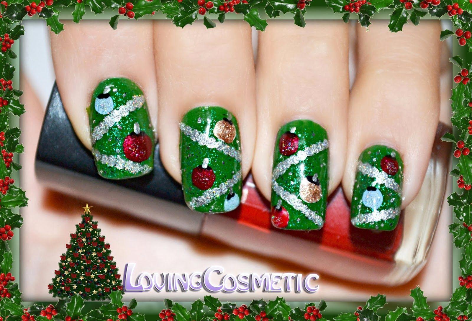 Dorable Diseño De Uñas árbol De Navidad Bandera - Ideas Para Pintar ...