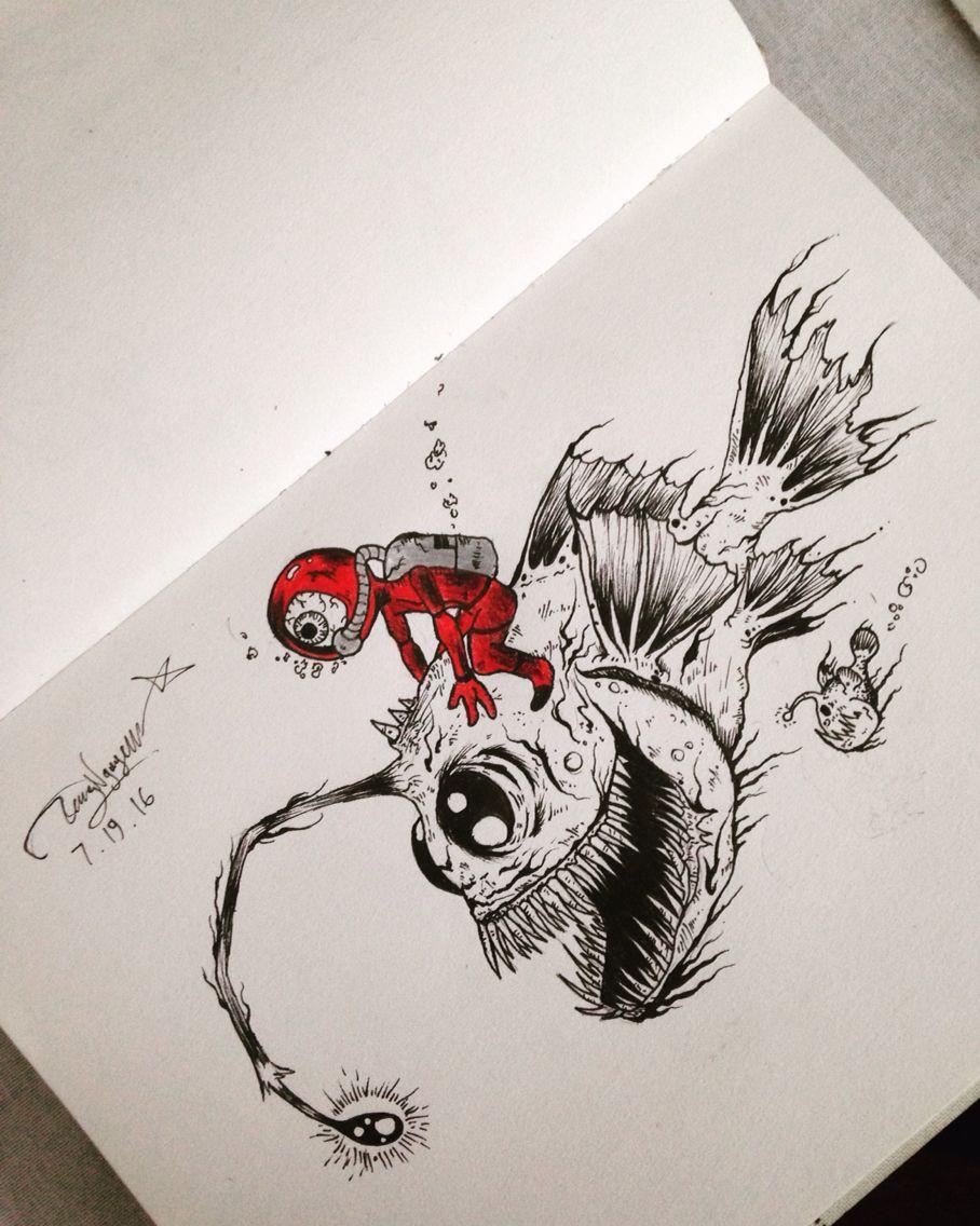 Anglerfish Tattoo Drawings Dark Art Drawings Angler Fish