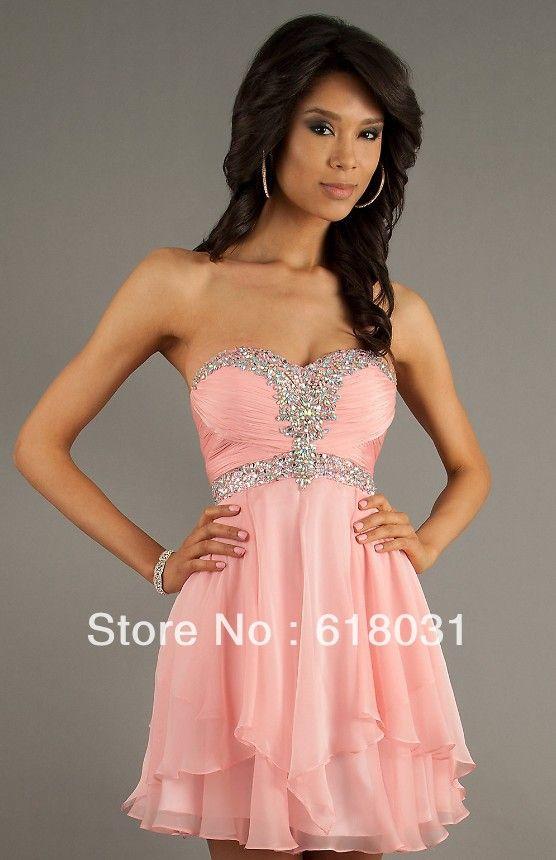 Hermoso color de rosa de gasa con cuentas lentejuelas vestido de ...