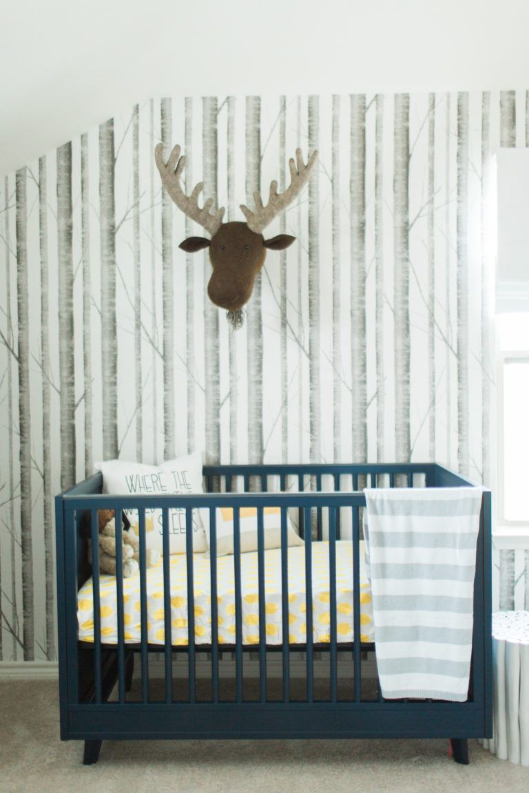 Where the Wild Things Are Nursery Birch tree wallpaper