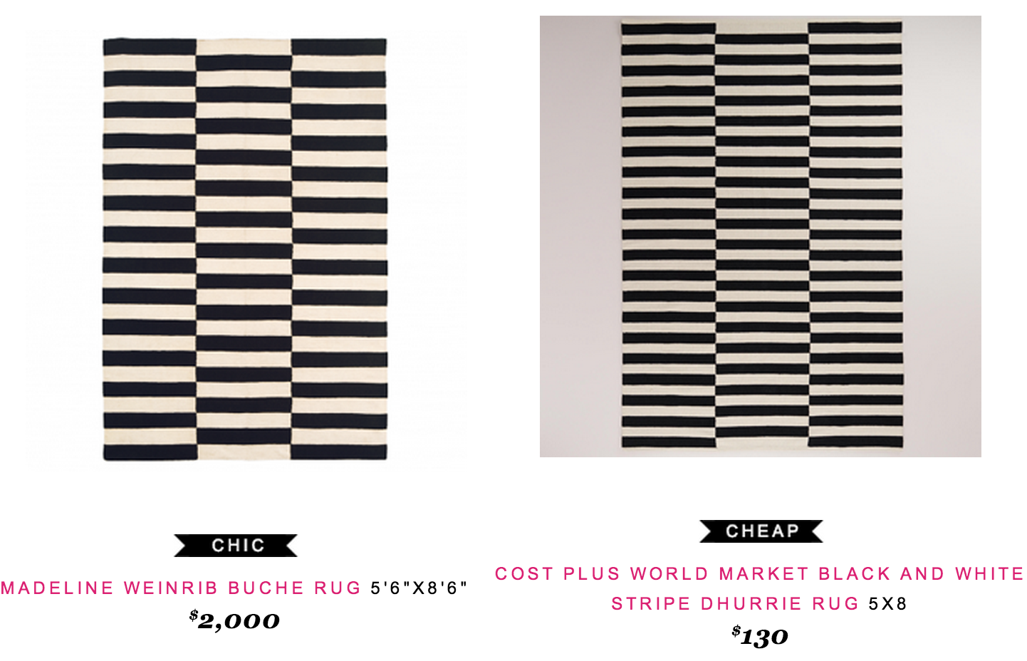 Madeline Weinrib Buche Rug 5 6 X8 2000 Vs Cost Plus World Market Black And White Stripe Dhurrie 5x8 130