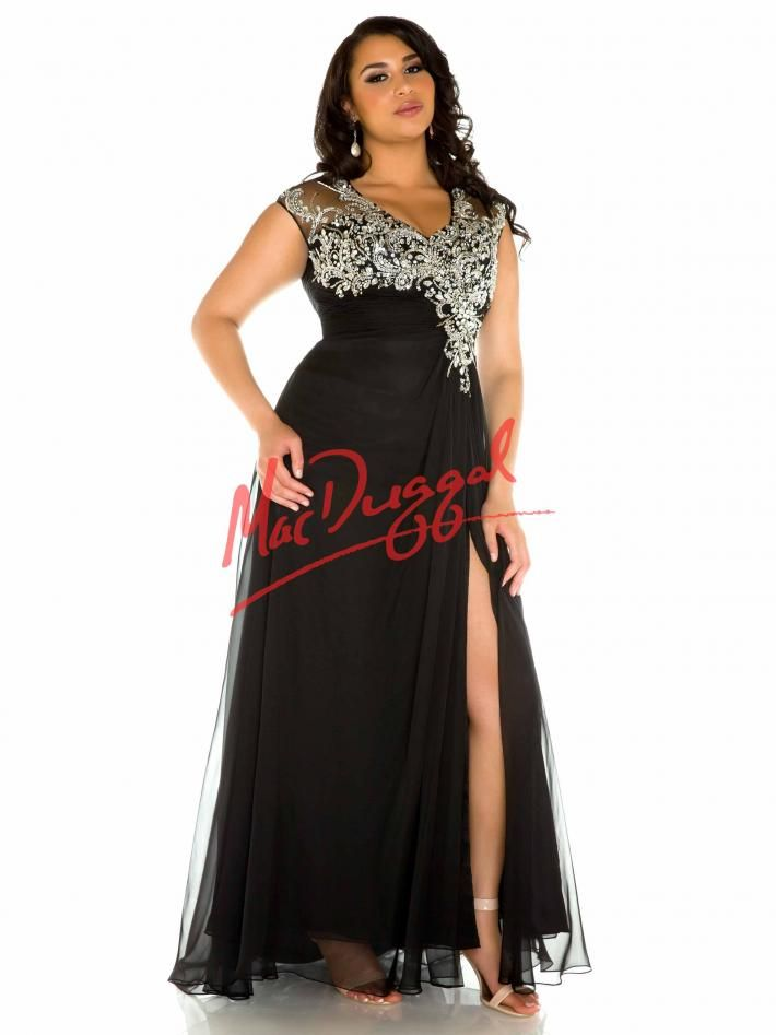 Black and Silver Plus Size Prom Dress | Mac Duggal 65043F ...