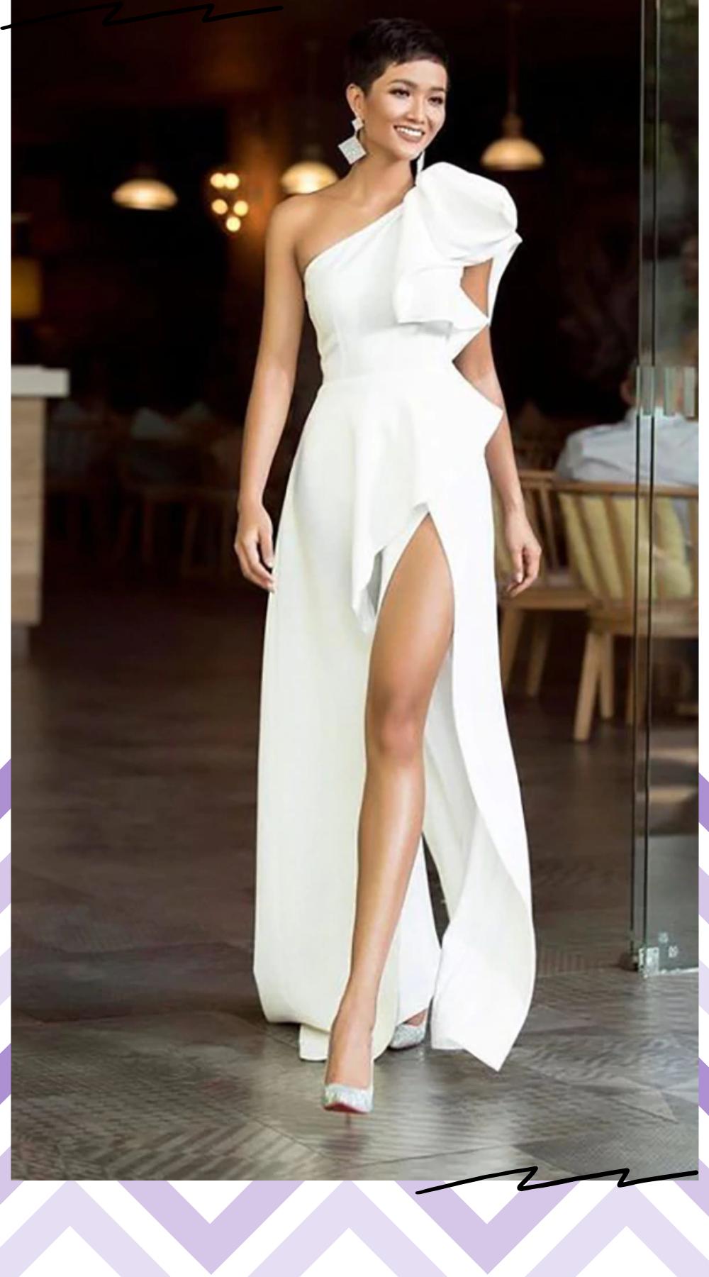 Verngo Simple Evening Dress Warm White Formal Dress