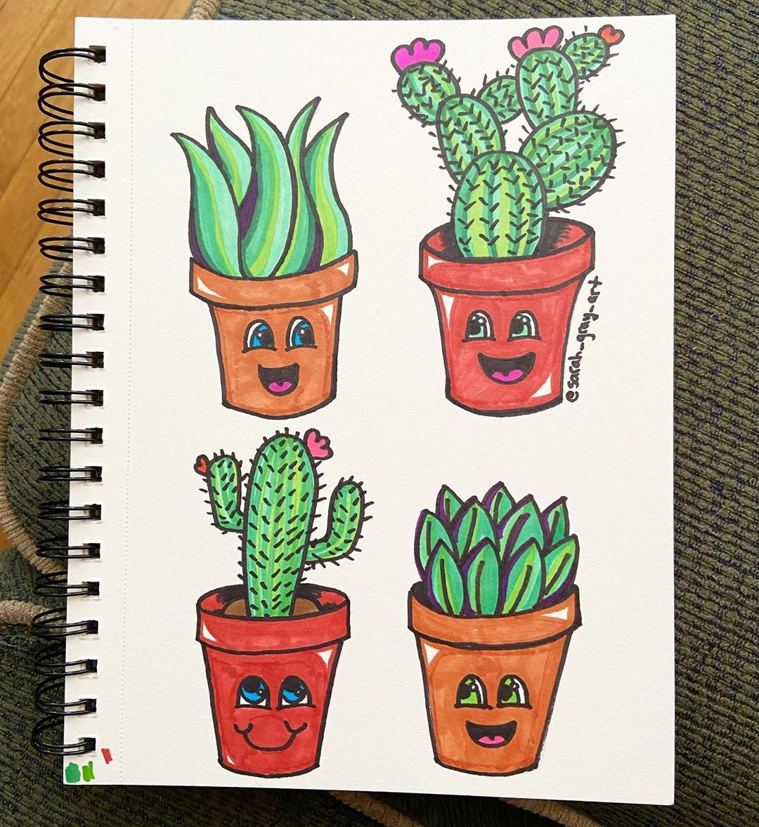 More succulent doodles! 🌵🌞 Swipe 👉 to see part of the creation process - - - #doodlesofinstagram #doodle #doodles #do...