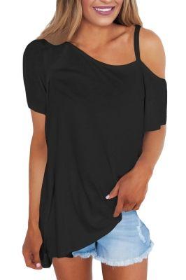 817f577bd20 ... women s fashion Plus Size deals. Black Cold Shoulder Short Sleeve Loose  Fit Tops