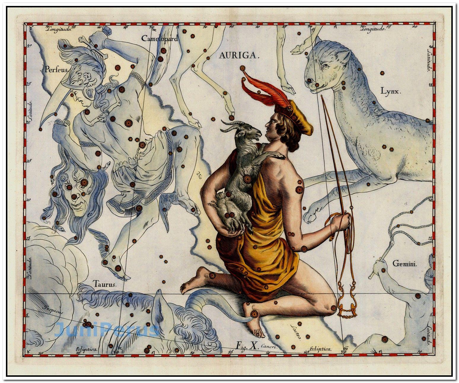 Auriga Stars Heightened In Gold Map Maker Johannes Hevelius Place - Star map maker