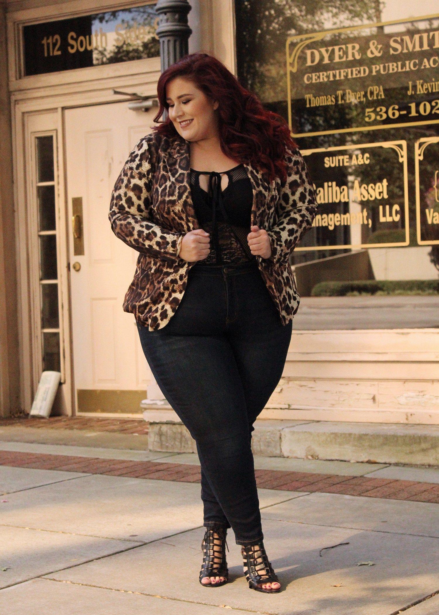 42a7a18c3f Plus Size Fashion for Women - Plus Size Leopard Blazer Look