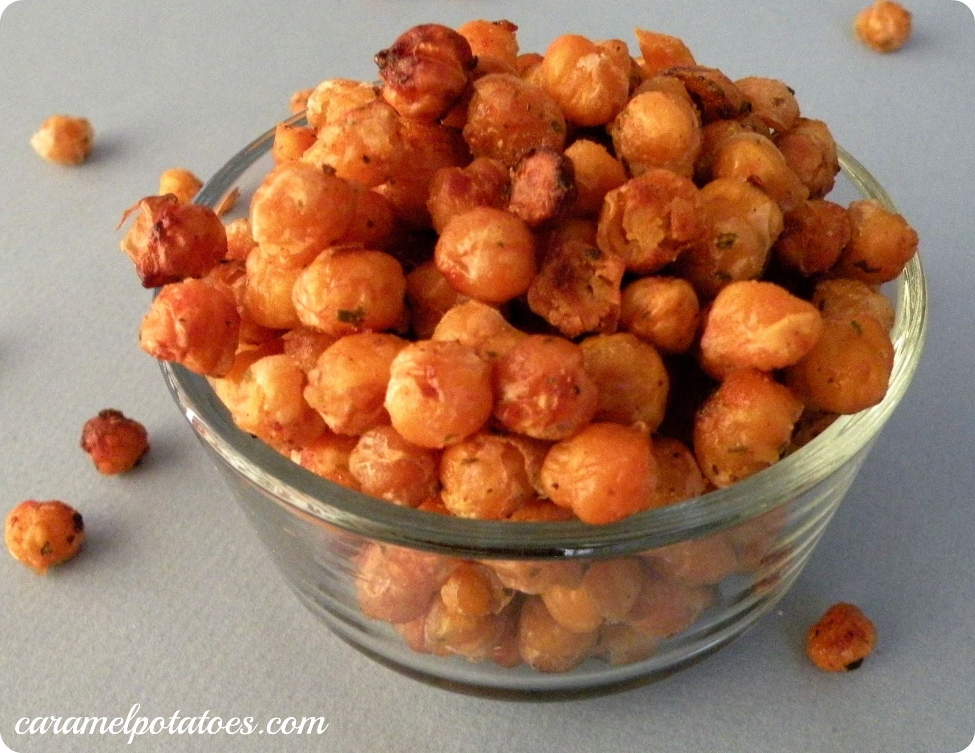 Crunchy Roasted Chickpeas-and inexpensive snack option that is full of protein, fiber and iron. Try them on their own or sprinkled in a salad.