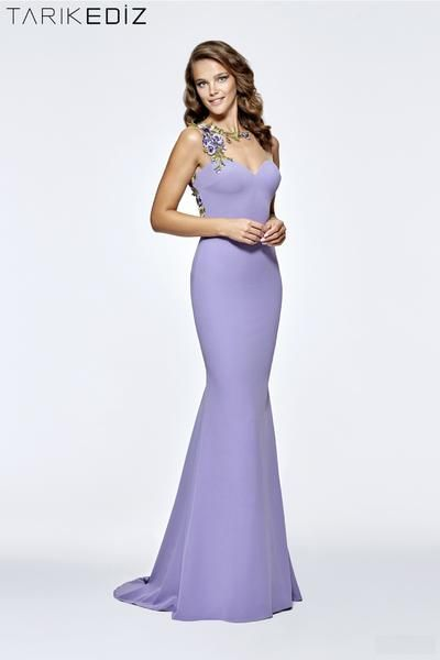 Tarik Ediz 93185 fitted crepe gown with beautiful floral embroidery.