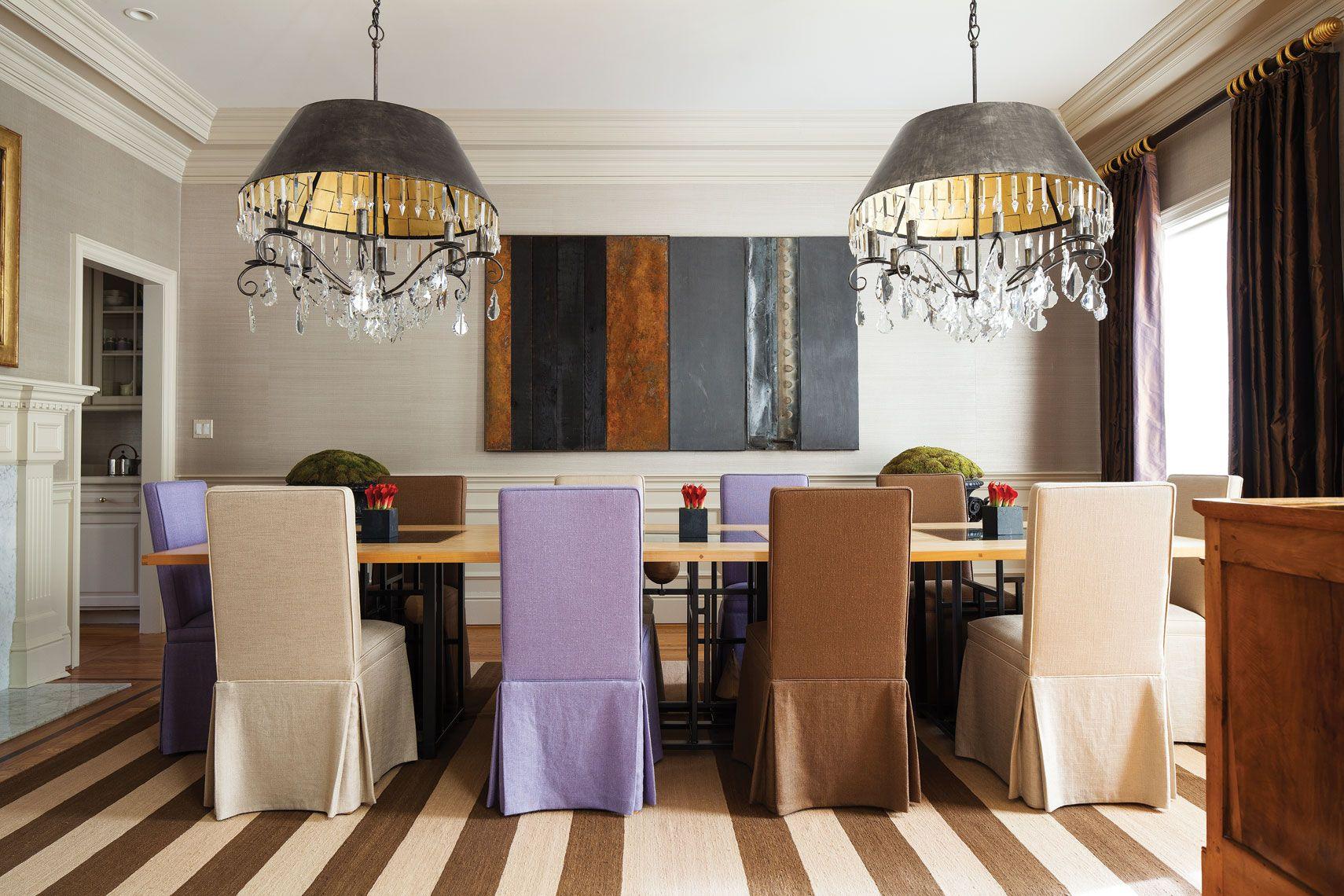 Transitional Dining Room Metal Chandelier Striped Carpet