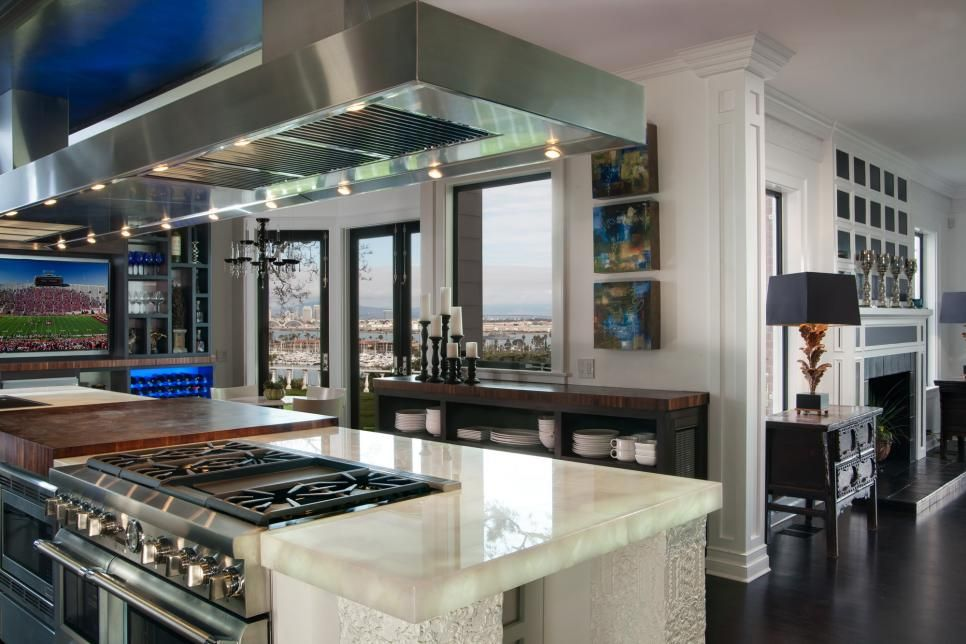 Glass Top Kitchen Island The 18 foot long kitchen island houses two stoves a glass top and the 18 foot long kitchen island houses two stoves a glass top and workwithnaturefo