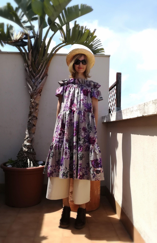 A Line Off Shoulder Dress Lightweight Cotton Silk Violet Rose Floral Dress Off Shoulder Dress Kadrika Milye Platya Platya [ 3000 x 1942 Pixel ]