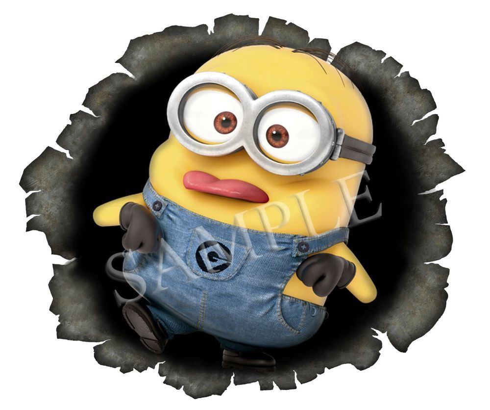 Minion Bullet Hole Pulling Tongue Out Sticker 4 X5 Decal Car U K Post Only Minions Car Exterior Vinyl [ 836 x 1000 Pixel ]