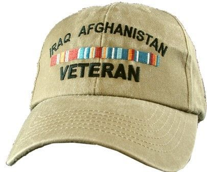 Khaki Washed cotton cap dad hat VIETNAM ARMY VETERAN RIBBON