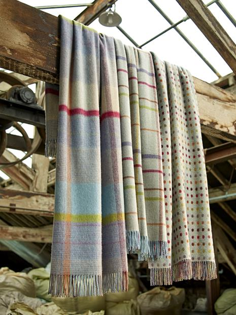 Bronte Moon Merino Lambswool Throw Blanket Rainbow Windowpane in Aqua Multi