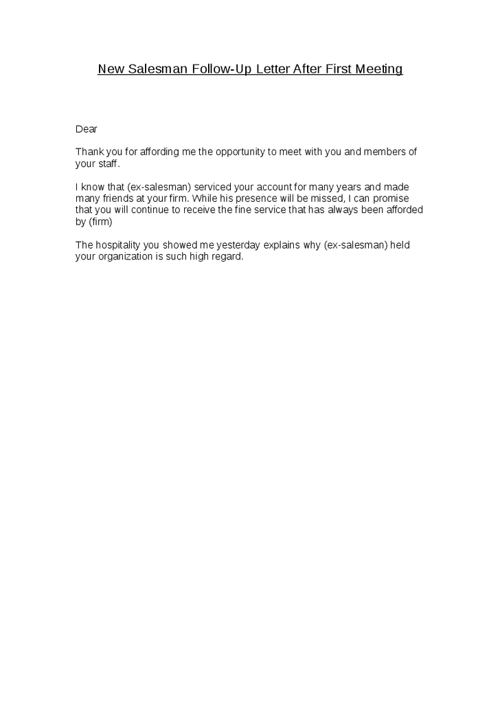 Sample Thank You Letter After First Meeting Follow Format Business
