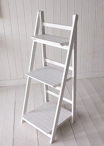 White Freestanding Bathroom Shelf Unit Side View Ideal For Quilt Display
