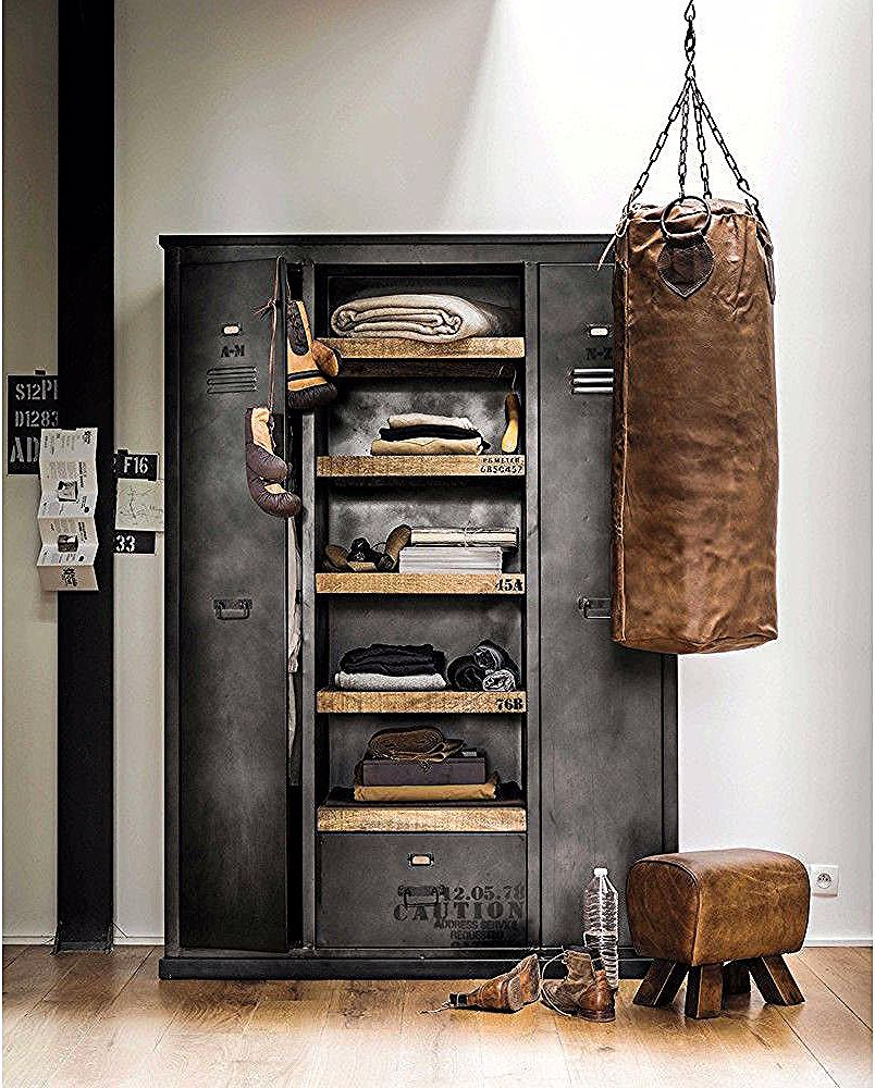 Kleiderschrank Im Industrial Stil Aus Metall In Antikoptik B 135 Cm Maisons Du In 2020 Vintage Industrial Furniture Industrial Design Furniture Industrial Furniture