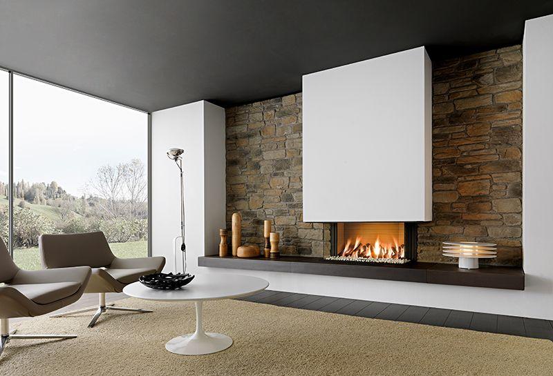 wandverkleidung holz modernes wohnzimmer kamin ecru sofa media - wohnzimmer kamin design