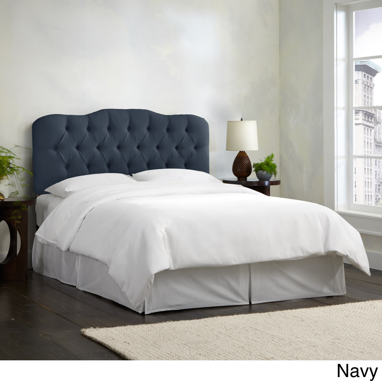 Skyline Furniture Linen Tufted Headboard (California King  Linen Navy),