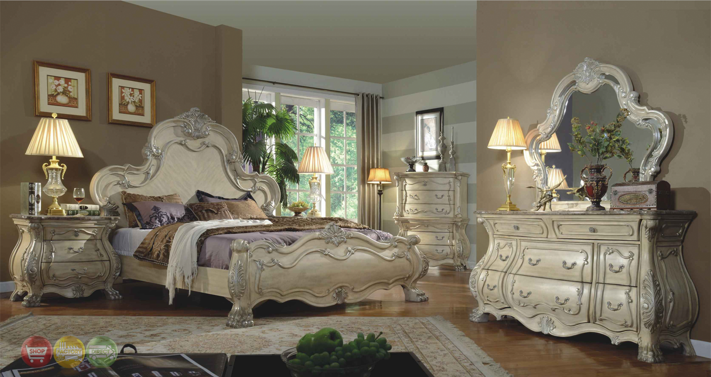 Ornate Traditional Bedroom Furniture Collection Mansion Bed Wood