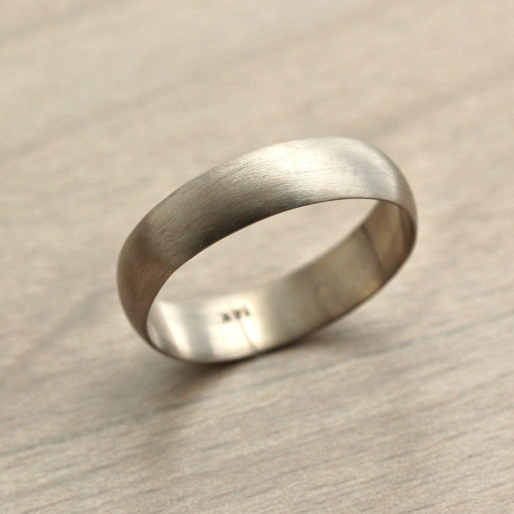 Men S White Gold Wedding Band 5mm Half Round Recycled 14k Palladium Ring Brushed