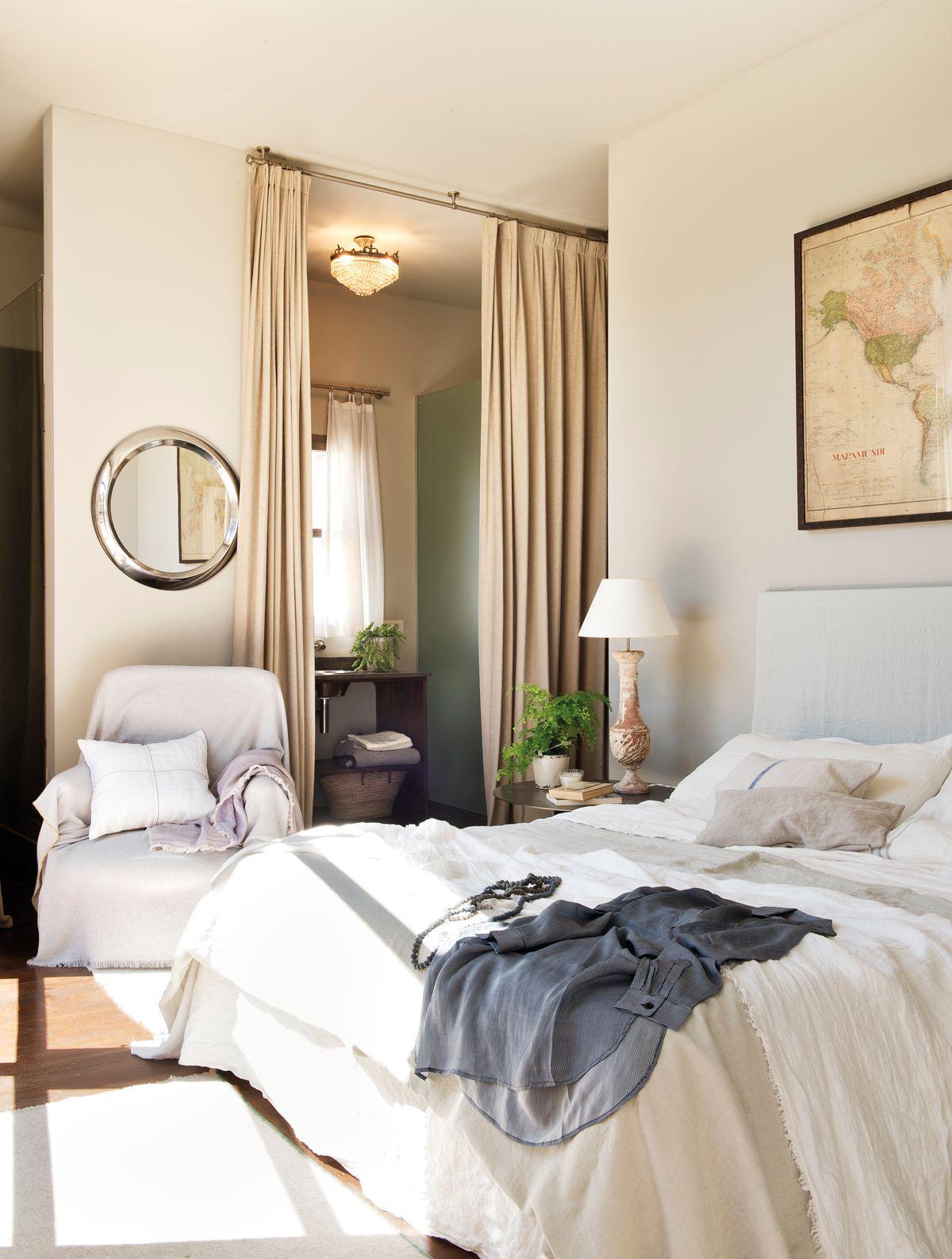 Todo al blanco: dormitorios llenos de luz | Puerta de cortina ...
