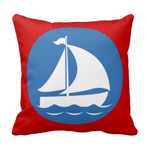 Sailboat in a Blue Circle Pillow