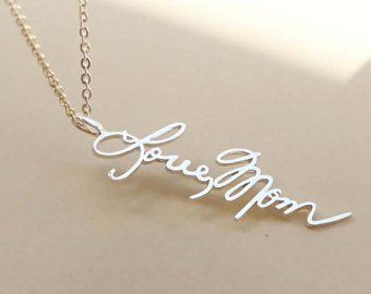 Personalized signature necklace signature pendant memorial personalized signature necklace signature pendant memorial jewelry handwriting jewelry vertical pendant aloadofball Choice Image