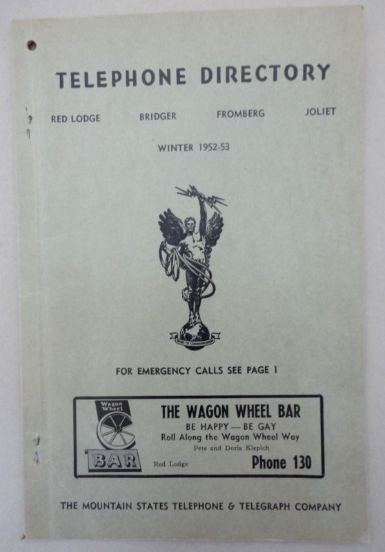 Telephone Directory Phone Book 1953 Montana Red Lodge Bridger