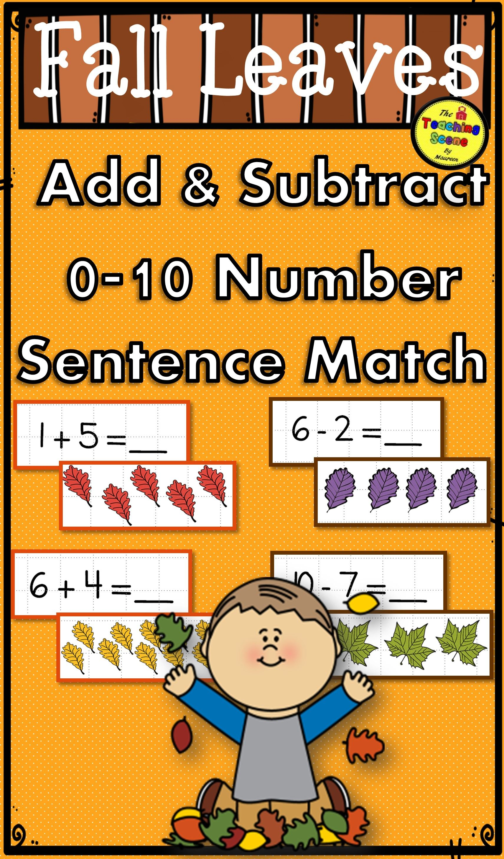 Fall Leaves Add Amp Subtract 0 10 Number Sentence Match Game